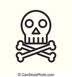 cross bones and skull, death outline icon