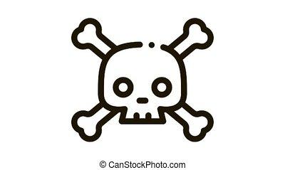 Cross Bones Skull Icon Animation. black Cross Bones Skull animated icon on white background