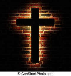 Cross brick - Wooden cross with the light on the brick wall