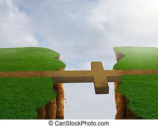 Cross bridge - A cross bridges the gap over the cliff to the...