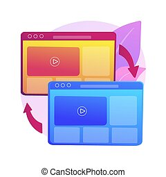 Cross-browser compatibility abstract concept vector illustration. Multi-browser compatible, cross-browser development, software compatibility testing, website user experience abstract metaphor.