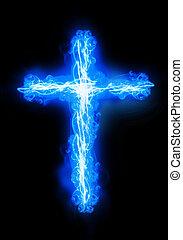 cross burning in fire - cross burning in a blue fire