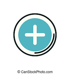 cross button medical icon line fill