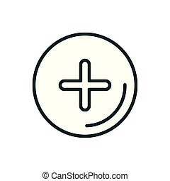 cross button medical icon line