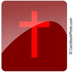Cross button - a gloss button cross in red