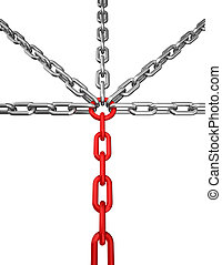 Cross chain - 3d illustration of a silver and red chain -...