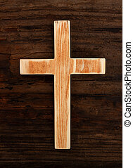 cross christian wood old background top view