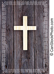 cross christian wooden background celtic border frame