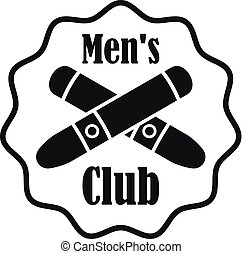 Cross cigar men club logo, simple style