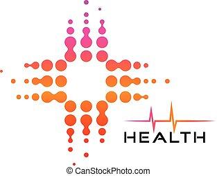 Cross circles bubbles health care, medical symbol. Colorful Pulse Logo minimalist vector icon.