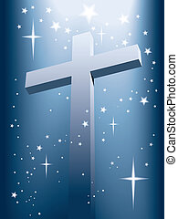 Cross with magic light and shining stars