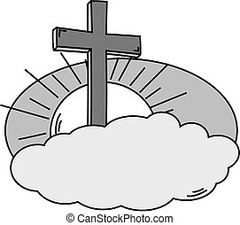 Cross cloud, sky and sun in black and white - vector