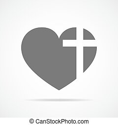 cross., corazón, vector, cristiano, illustration.