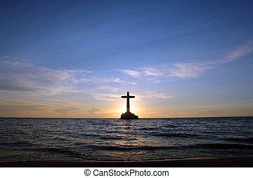 cross., coucher soleil