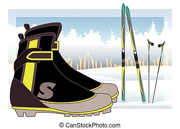 cross-country boots, skis and ski poles with trees and snow-covered hills in background