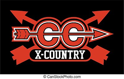 cross country - cross county team design with crossed arrows