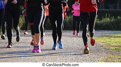 cross-country, durante, mulheres jovens