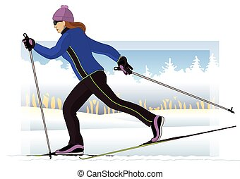 cross-country skier, female, gliding on snow-covered groomed trail with trees and sky in the background