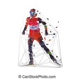 Cross country skier in orange jersey, low polygonal vector illustration, winter sports. Front view. Active people