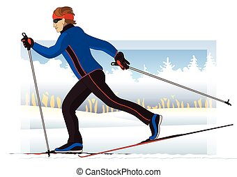 cross-country skier, male, gliding on snow with trees in background