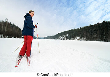 Cross Country Skier - A cross country skiier out on a...