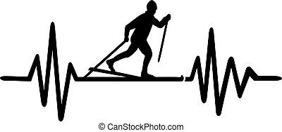 Cross country skiing heartbeat line german