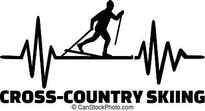 Cross country skiing heartbeat line