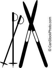 Cross-country skiing icon on white. Vector illustration.