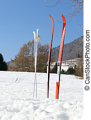 cross country skiing in the mountains with snow