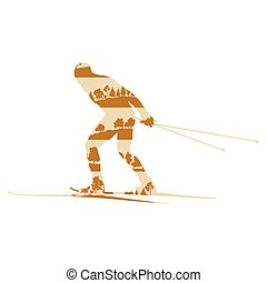 Cross country skiing man background abstract concept made of forest trees fragments isolated