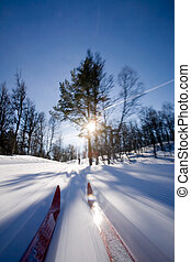 Cross Country Skiing Motion - Motion action shot of cross...