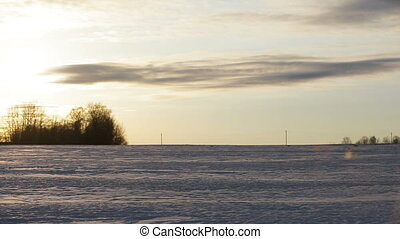 Cross-country skiing on field.