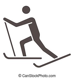 Cross-country skiing solid icon, Winter sport concept, skier sign on white background, Cross country skier icon in glyph style for mobile concept and web design. Vector graphics.