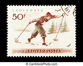 cross country skiing - mail stamp printed in Hungary...