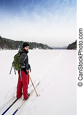Cross Country Skiing - A cross country skier out on a...