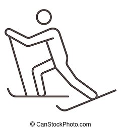 Cross-country skiing thin line icon, Winter sport concept, skier sign on white background, Cross country skier icon in outline style for mobile concept and web design. Vector graphics.