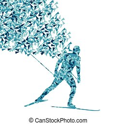 Cross country skiing vector background concept made of fragments cloud for poster