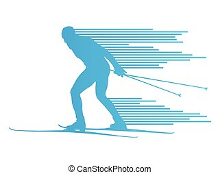 Cross country skiing vector background concept