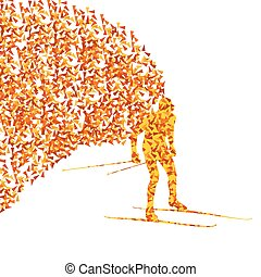 Cross country skiing vector background concept made of fragments