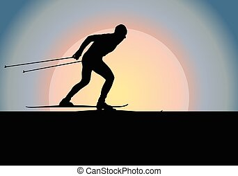 Cross country skiing vector background with sun