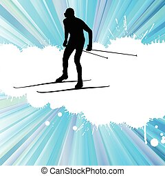Cross country skiing vector background with white color splashes