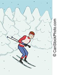 Cross country skiing, winter sport. Young man with skiing in snow covered forest. Vector illustration.