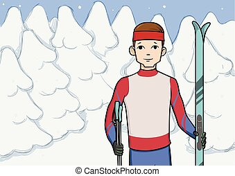 Cross country skiing, winter sport. Young man with skis standing in snow covered forest. Vector illustration.
