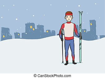 Cross country skiing, winter sport. Young man with skis standing on the background of the evening city. Vector illustration.