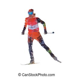 Cross country skiing, woman on skis, abtract polygonal vector silhouette