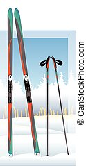 cross-country skis and ski poles with snow-covered trees in background