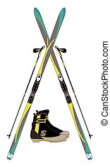 cross-country skis, ski poles and boots