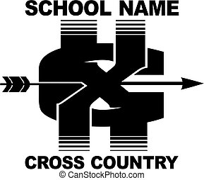 cross country team design with arrow and xc for school, ...