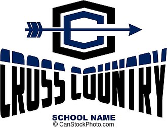 cross country team design with arrow for school, college or league