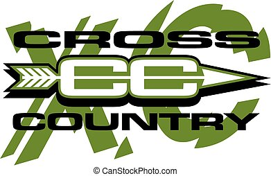 cross country team design with arrow going through and large xc in the background